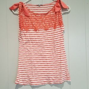 Striped Tank Top with Shoulder Bows
